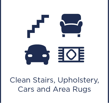 Clean stairs, upholstery, cars and area rugs