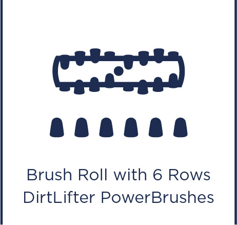 Brush roll with 6 rows DirtLifter PowerBrushes